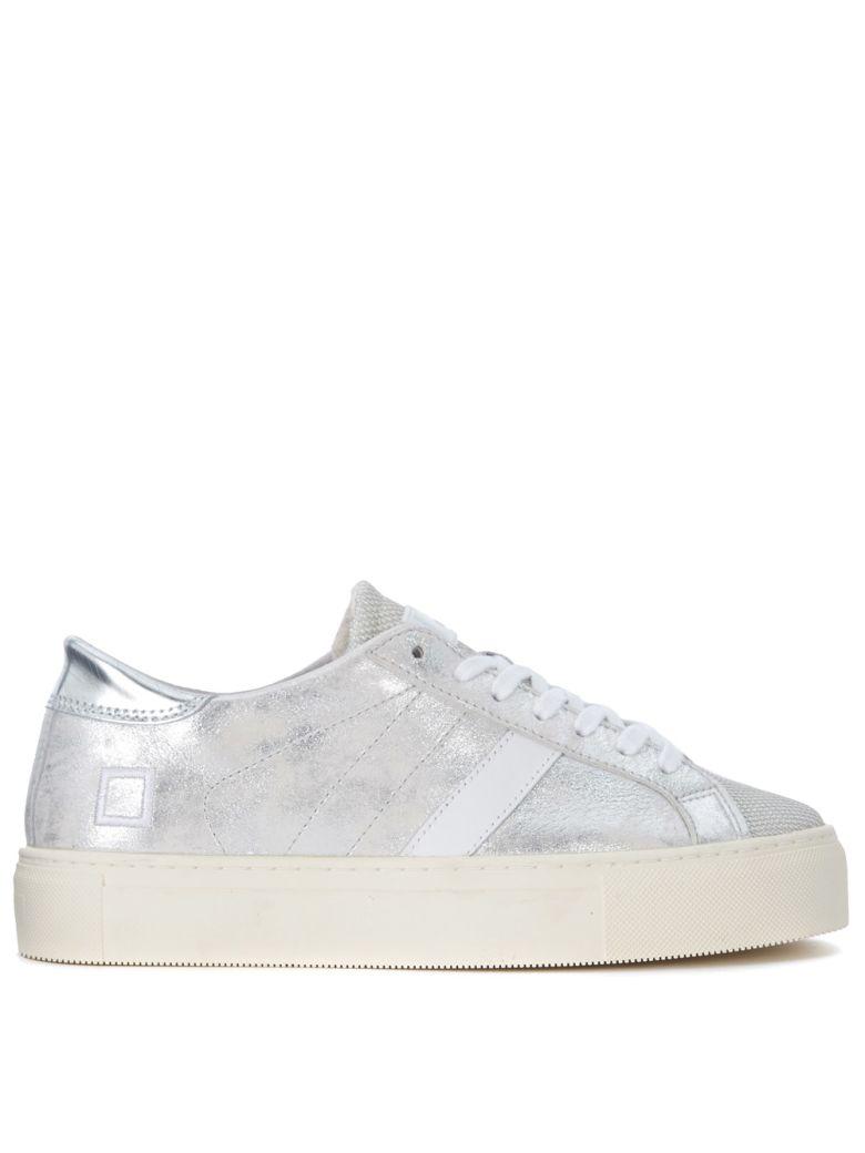 D.A.T.E. Vertigo Stardust Silver Laminated Leather Sneaker - Gray