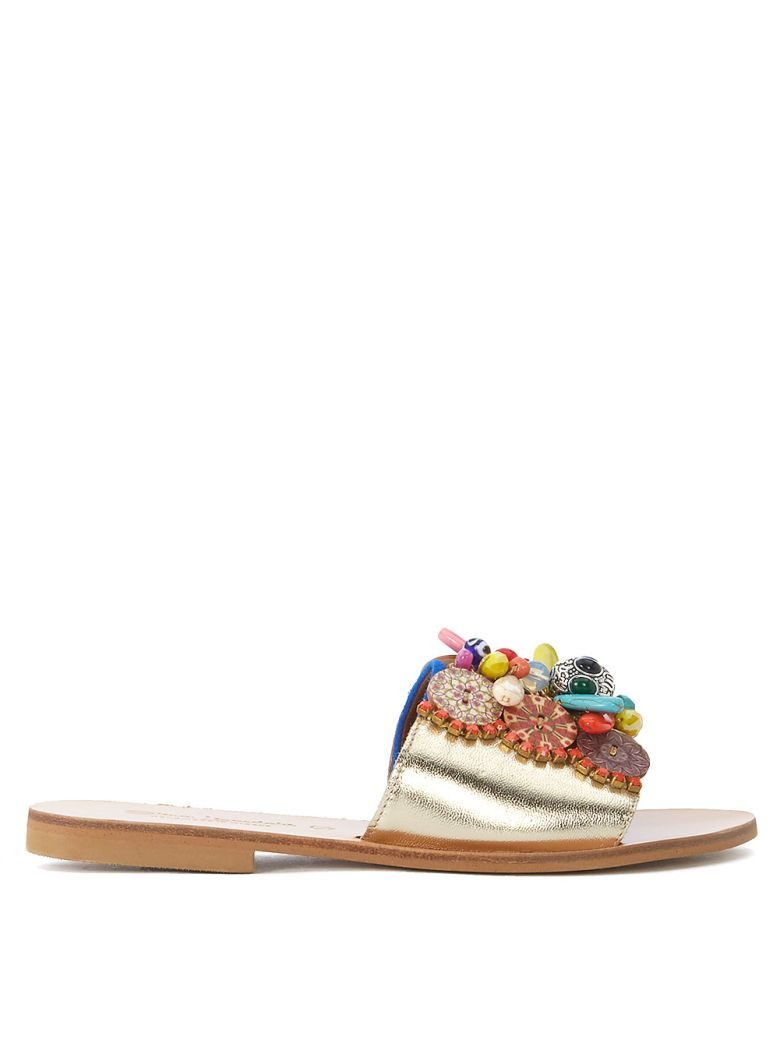 Elina Linardaki Daydream Believer Gold Leather Sandal With Decorations - MULTICOLOR