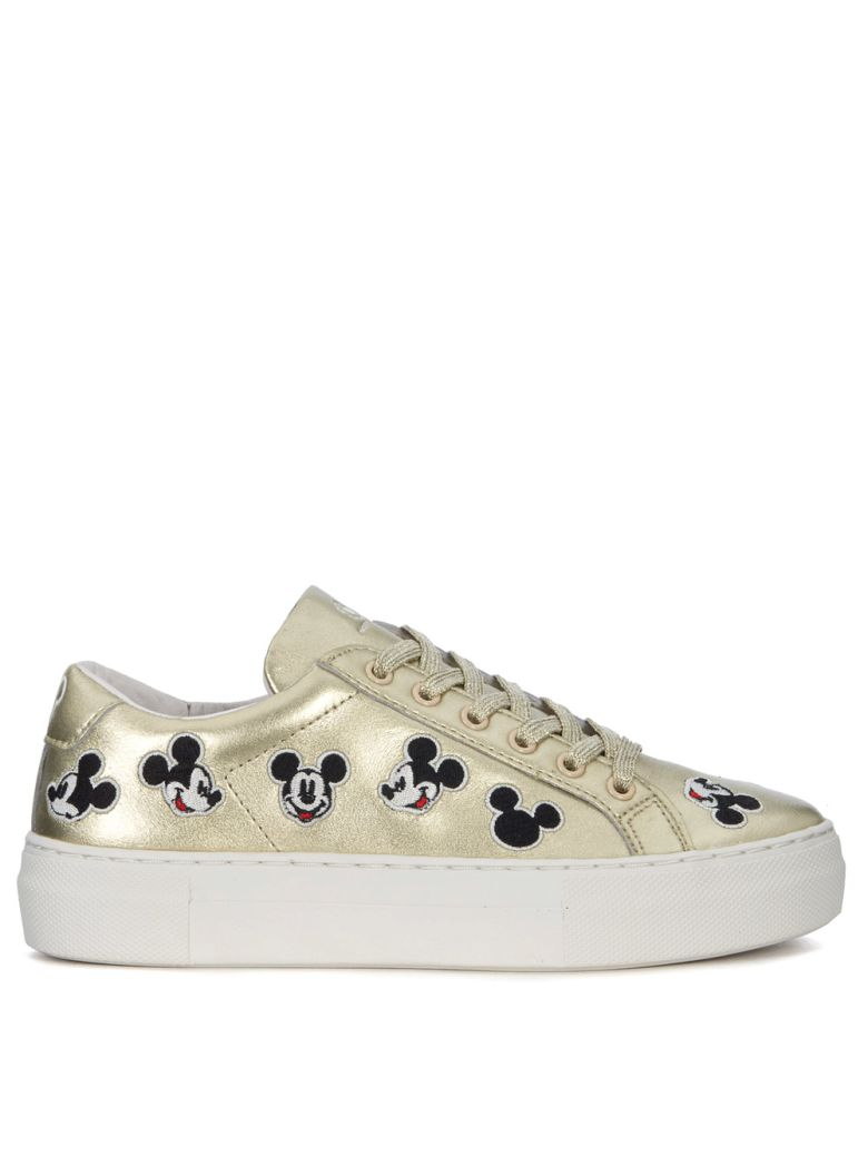 M.O.A. master of arts Moa Mickey Mouse Gold Leather Sneakers - ORO