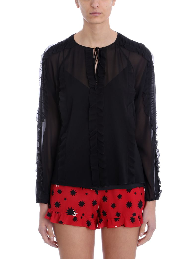 RED Valentino Black Printed Silk Chiffon Blouse - black