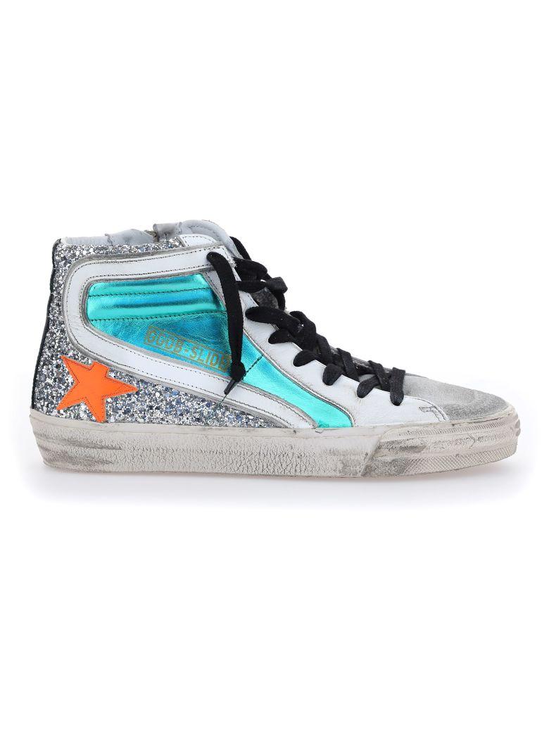 Golden Goose Slide Sneakers - Aquamarine/silver/ice/white/orange