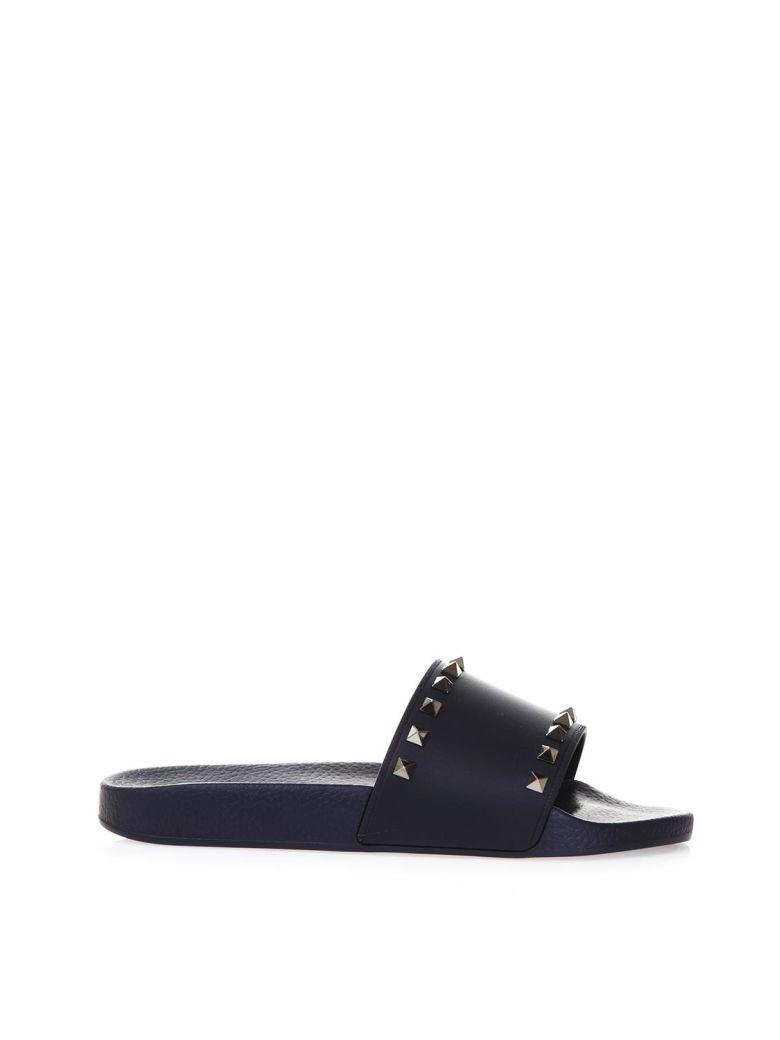 Valentino Garavani Rockstud Blu Rubber Sandals - Marine