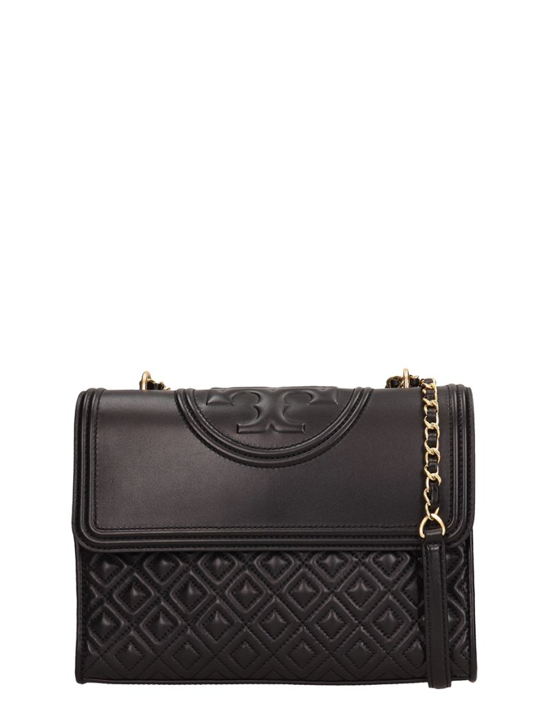 Tory Burch Black Quilted Leather Fleming Convert Bag - black