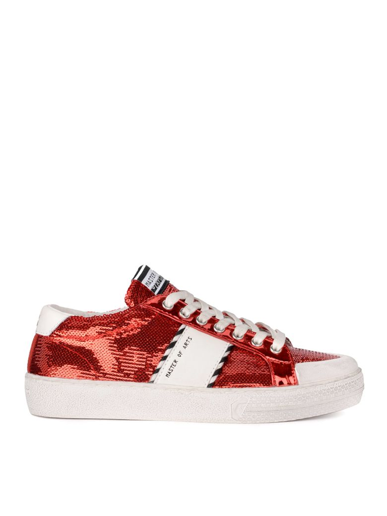 M.O.A. master of arts Moa Red Sequins And White Leather Sneaker - ROSSO