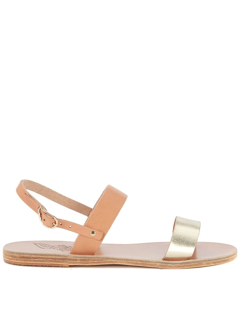 Ancient Greek Sandals Clio Natural And Gold Leather Sandal - ORO