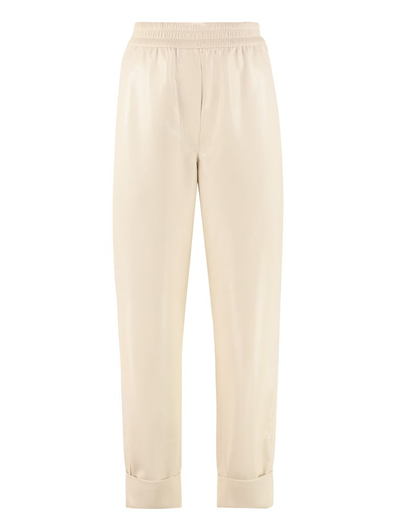 Nanushka Selah Faux Leather Trousers - panna