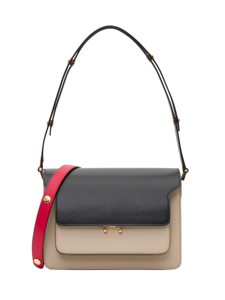 Marni Trunk Leather Shoulder Bag - Red