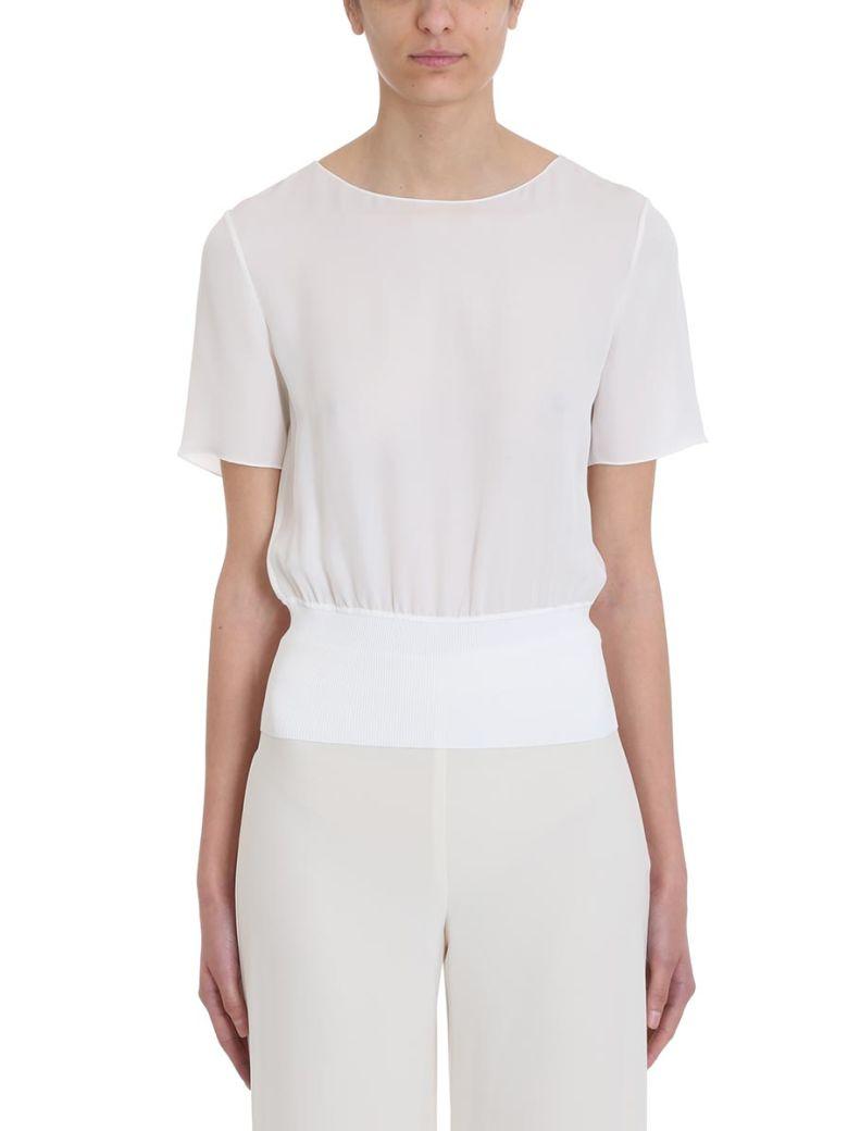 Theory Rib Ivory Silk T-shirt - white