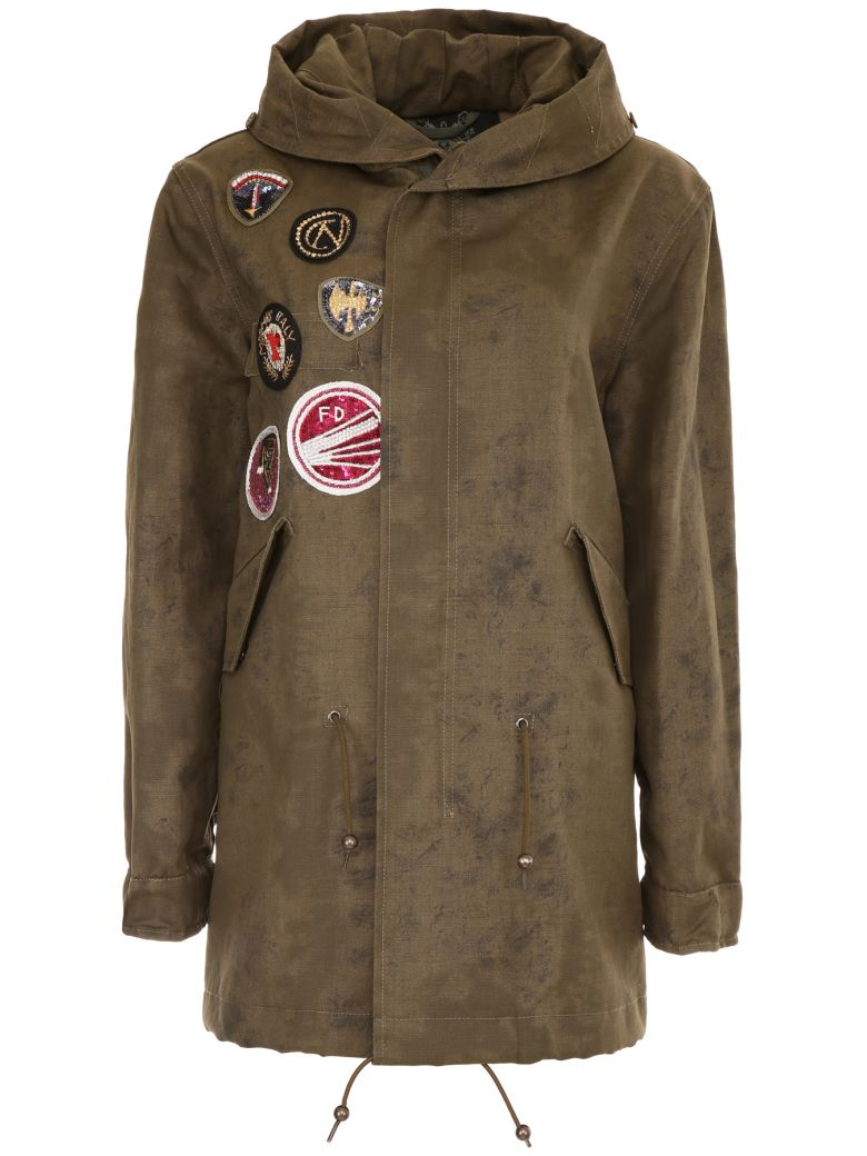 Mr & Mrs Italy Midi Parka With Patches - SPOTTED ARMY (Green)