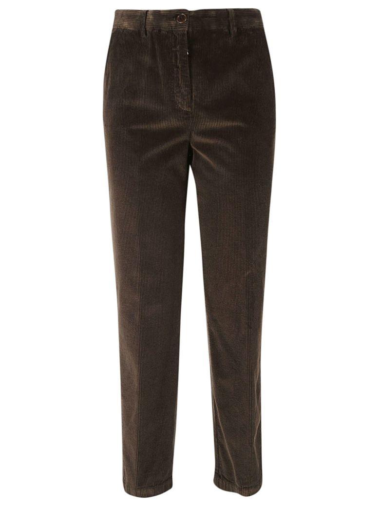 Aspesi Cropped Corduroy Trousers - Brown