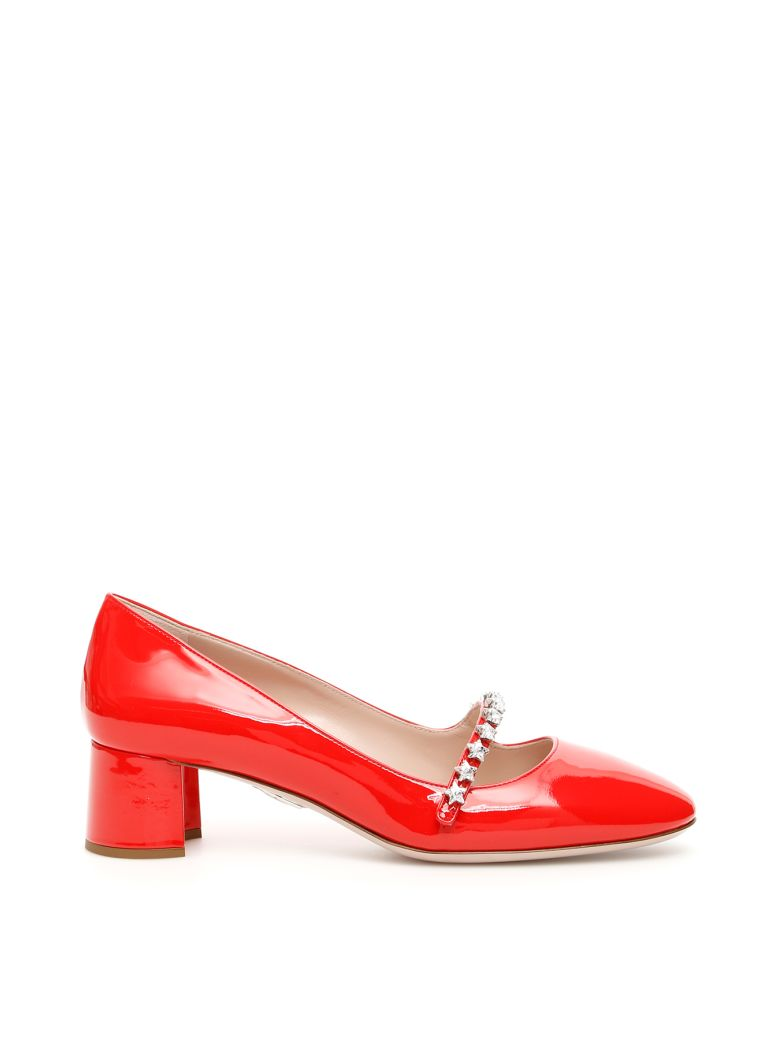 Miu Miu Mary Jane Pumps With Stars - LACCA Rosso