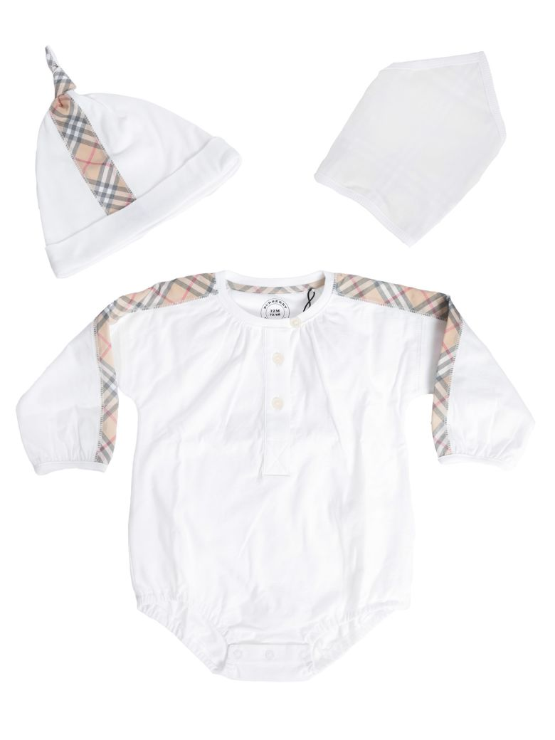 Burberry Kids Checked Detail Rompers And Cap Sets