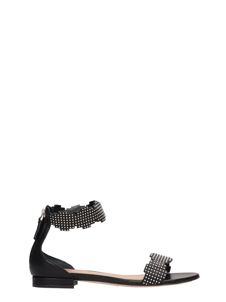Julie Dee Black Leather Sandals - black