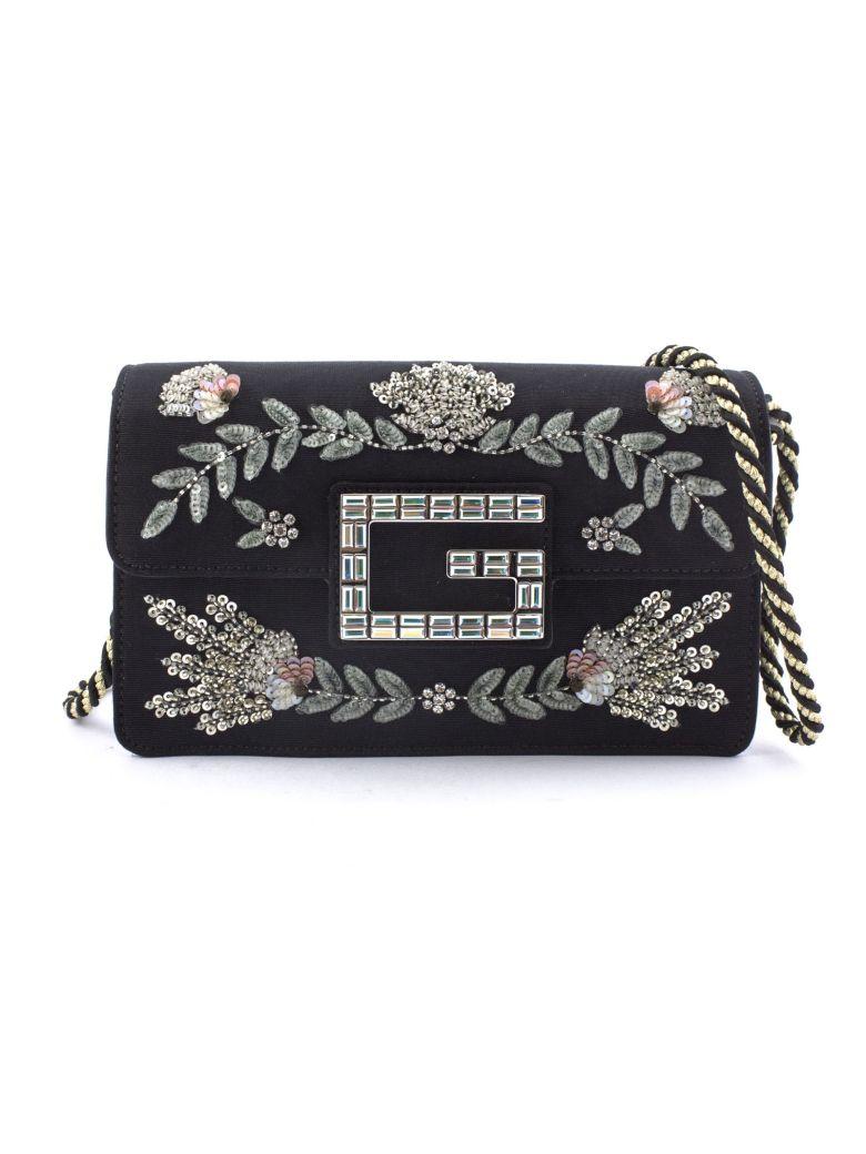 Gucci Black Moiré Fabric Shoulder Bag - Nero