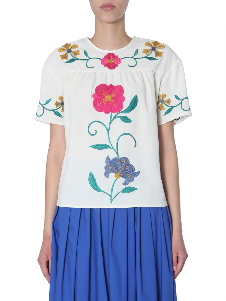 RED Valentino Blouse With Embroidered Mexican Flowers - BIANCO