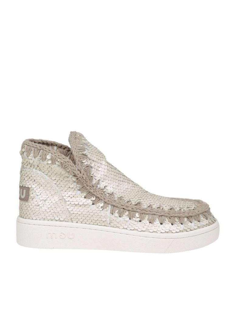 Mou Sneakers In Paillettes White Color - Multicolor