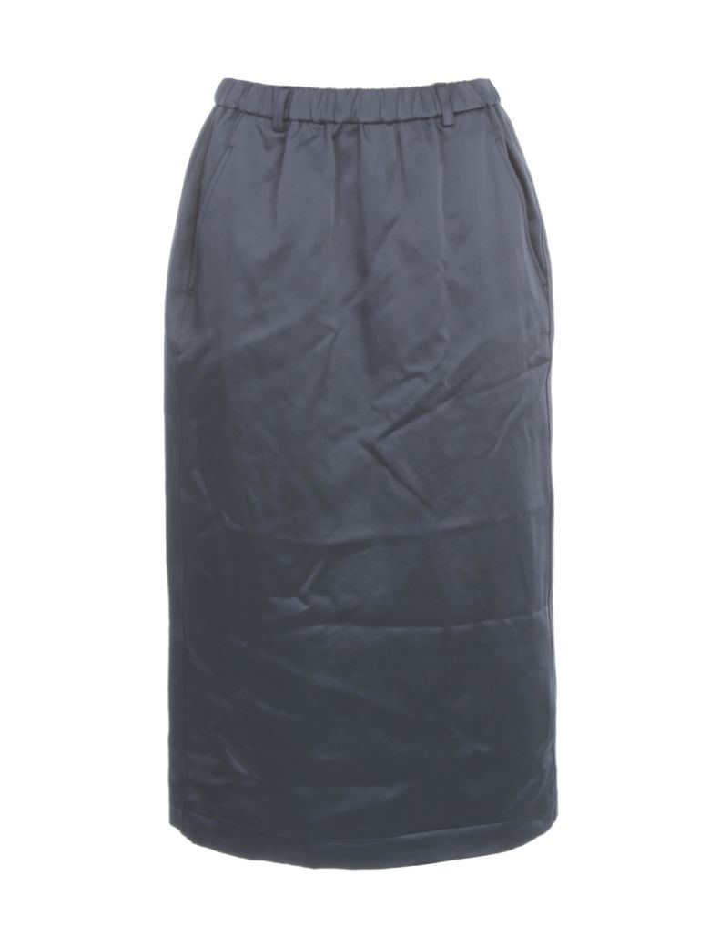 Aspesi Cotton Pencil Skirt Elastic Waist - Blu