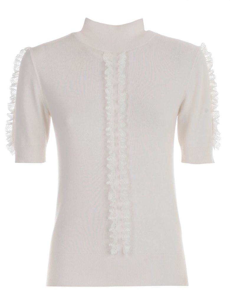 See by Chloé Sweater S/s High Neck W/insert - White