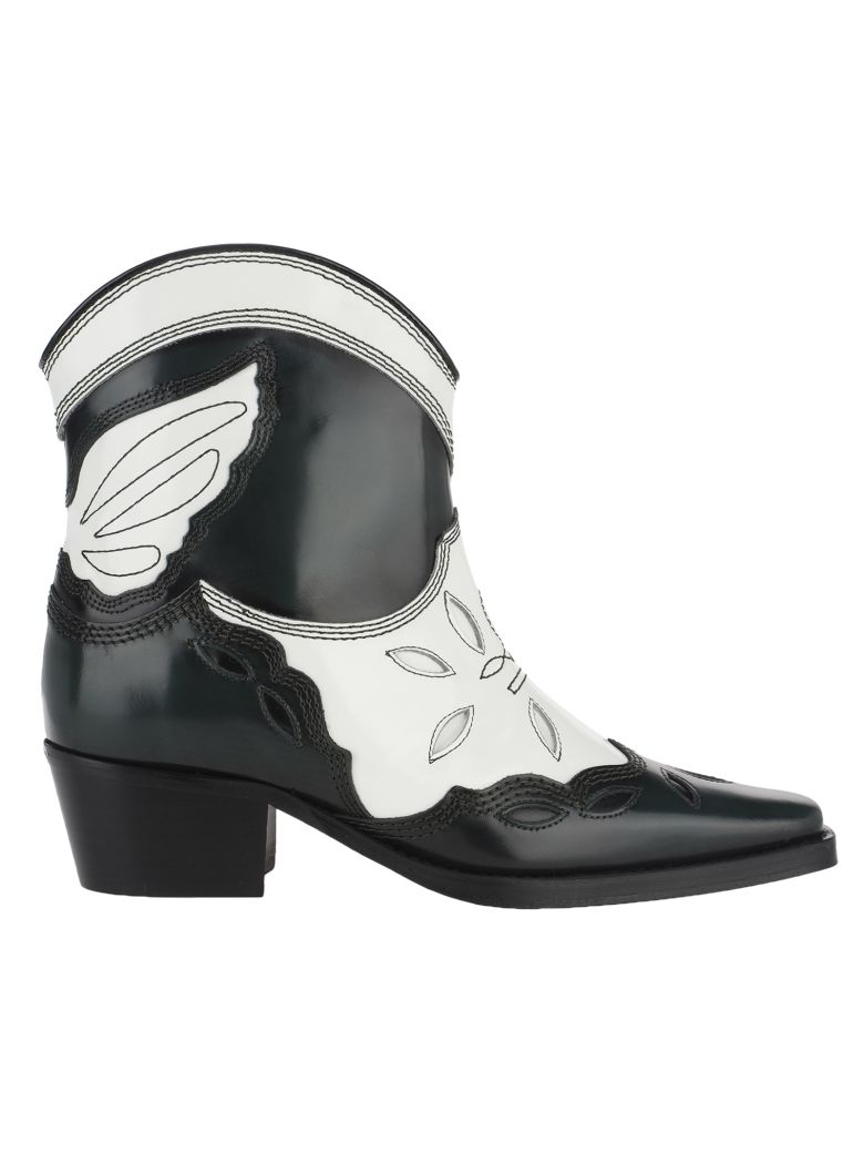 Ganni Low Texas Ankle Boots - EGRET