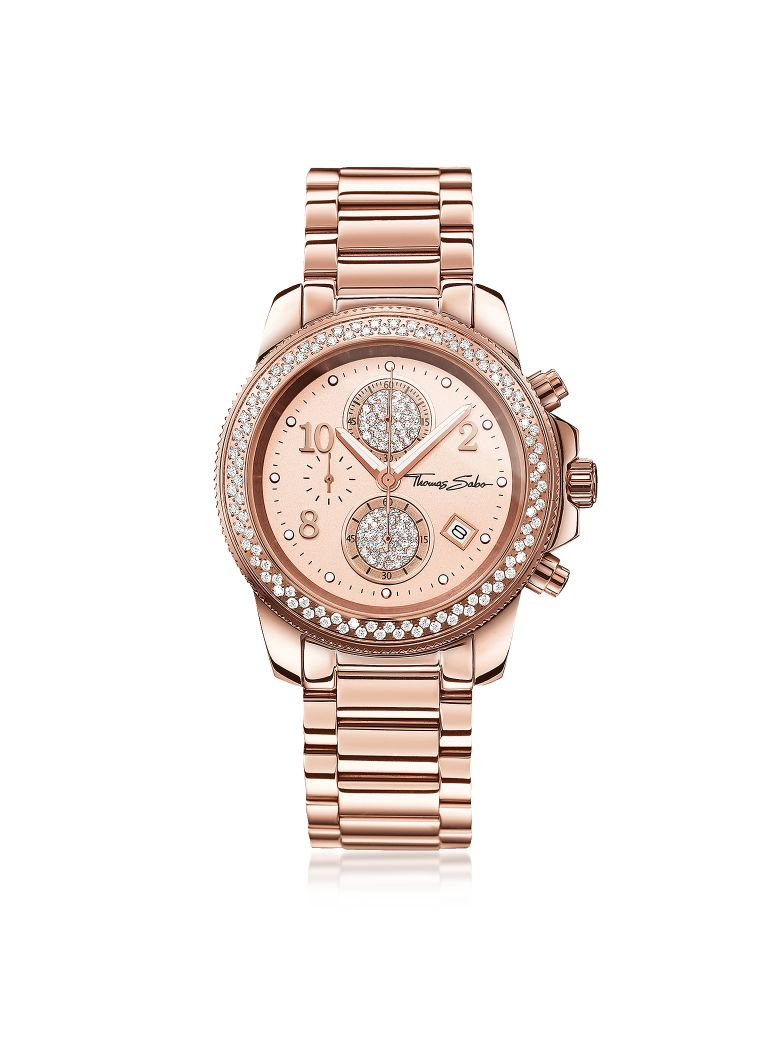 Thomas Sabo Glam Chrono Rose Gold Stainless Steel Women's Watch W/crystals - Pink