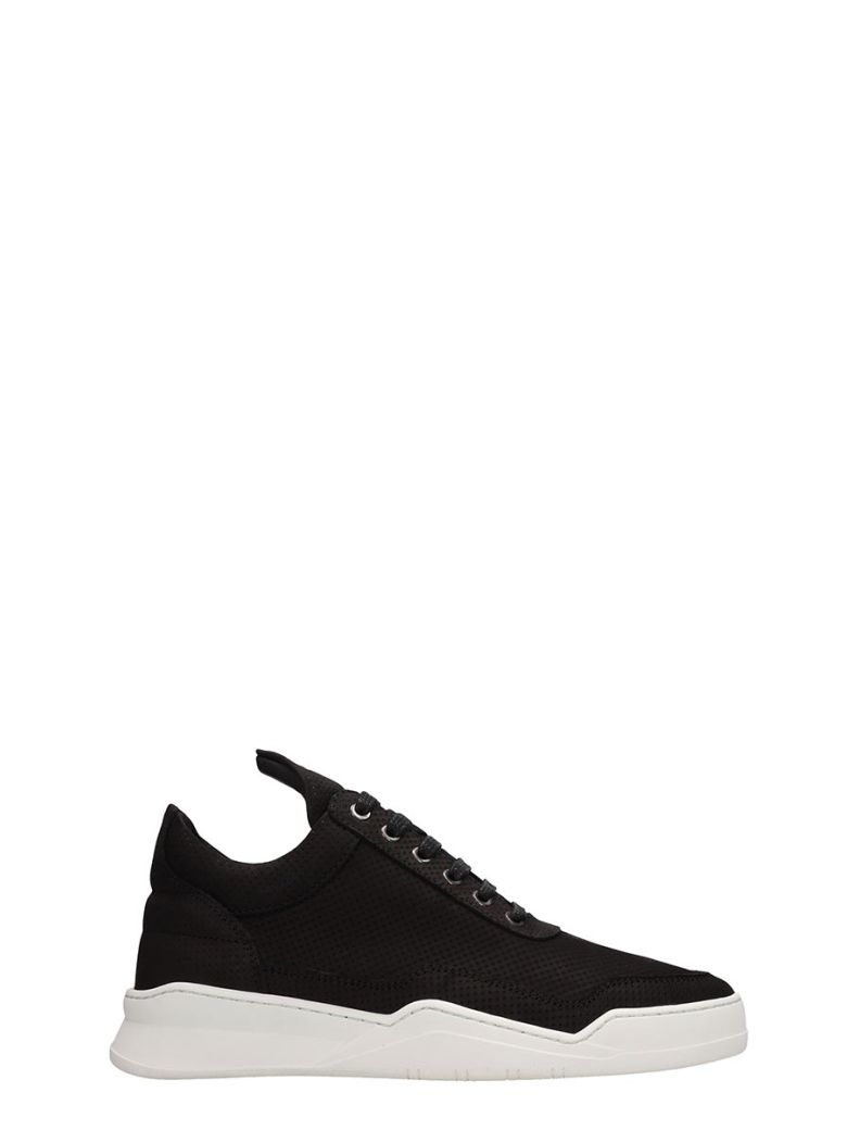 Filling Pieces Low Top Ghost Microlane Black Nabuk Sneakers - Black