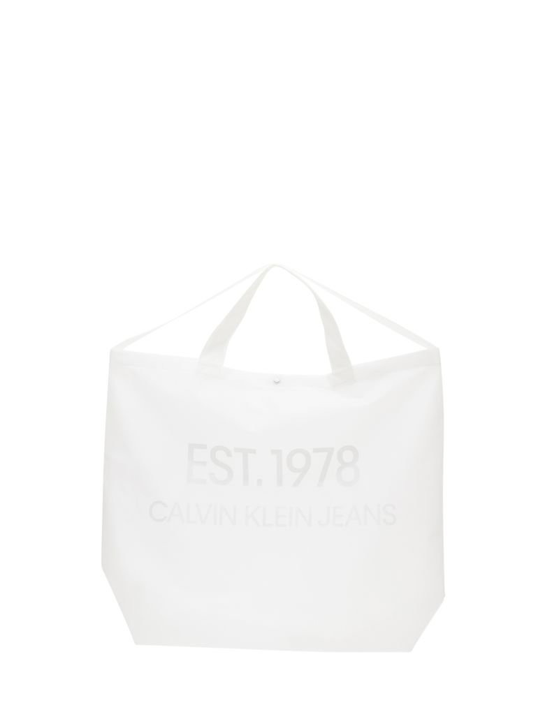 Calvin Klein Jeans Big Tote With Est.1978 Logo - Bianco