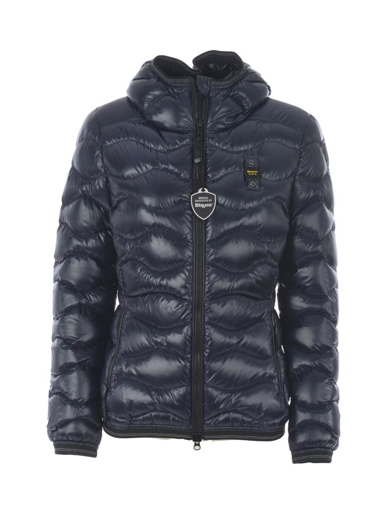 Blauer Zip-up Padded Jacket - Blu scuro