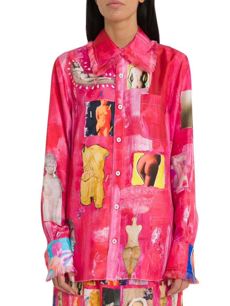 Marni Silk Twill Shirt With Opi Print - Fuxia