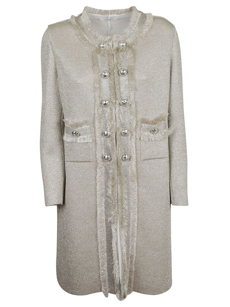 Charlott Embellished Button Coat - Beige Argento