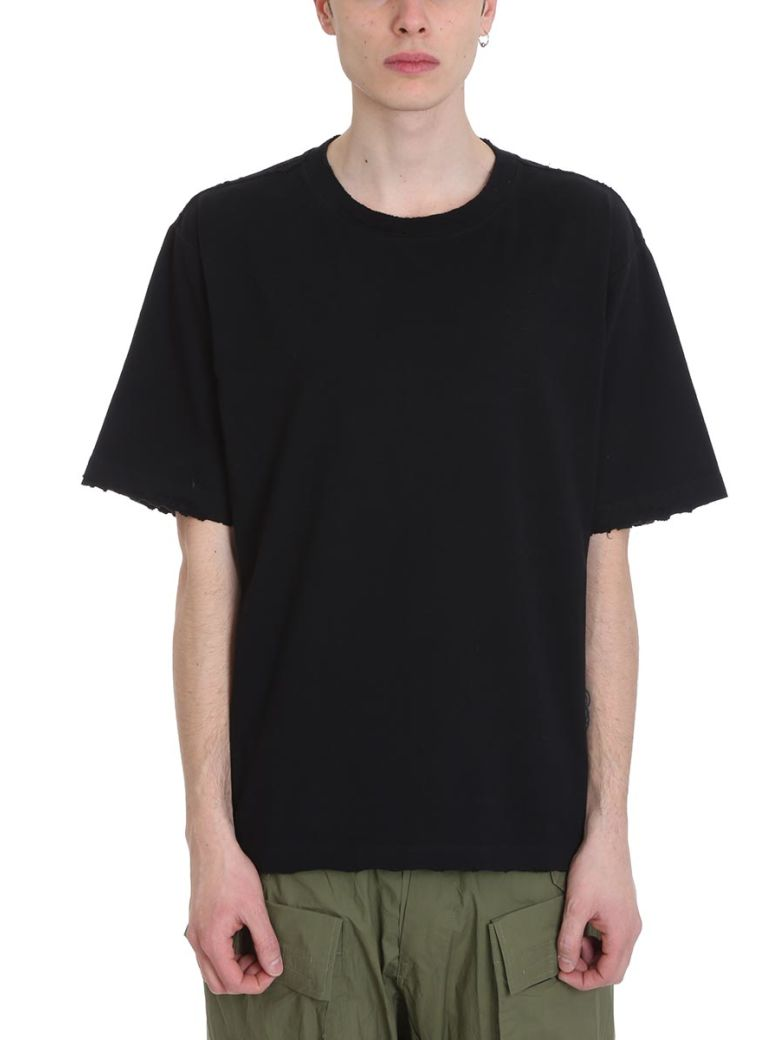 Ben Taverniti Unravel Project To Create Vintage Black Cotton T-shirt - black