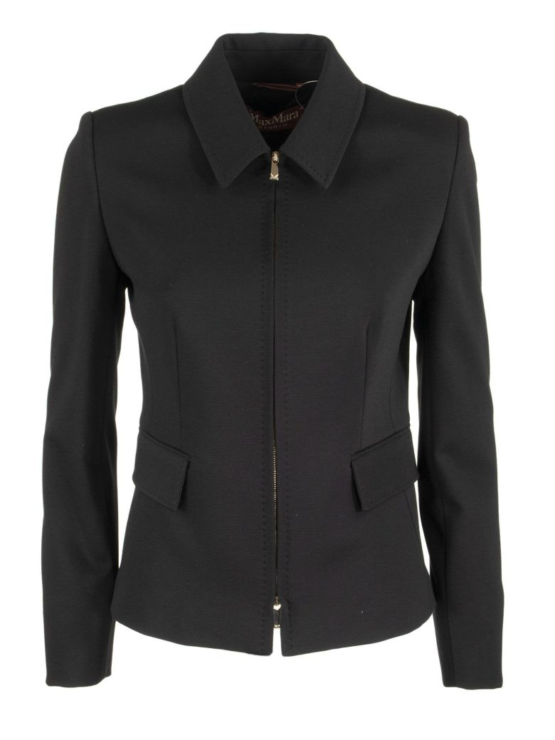 Max Mara Reflex Viscose Jacket With Zip - Black