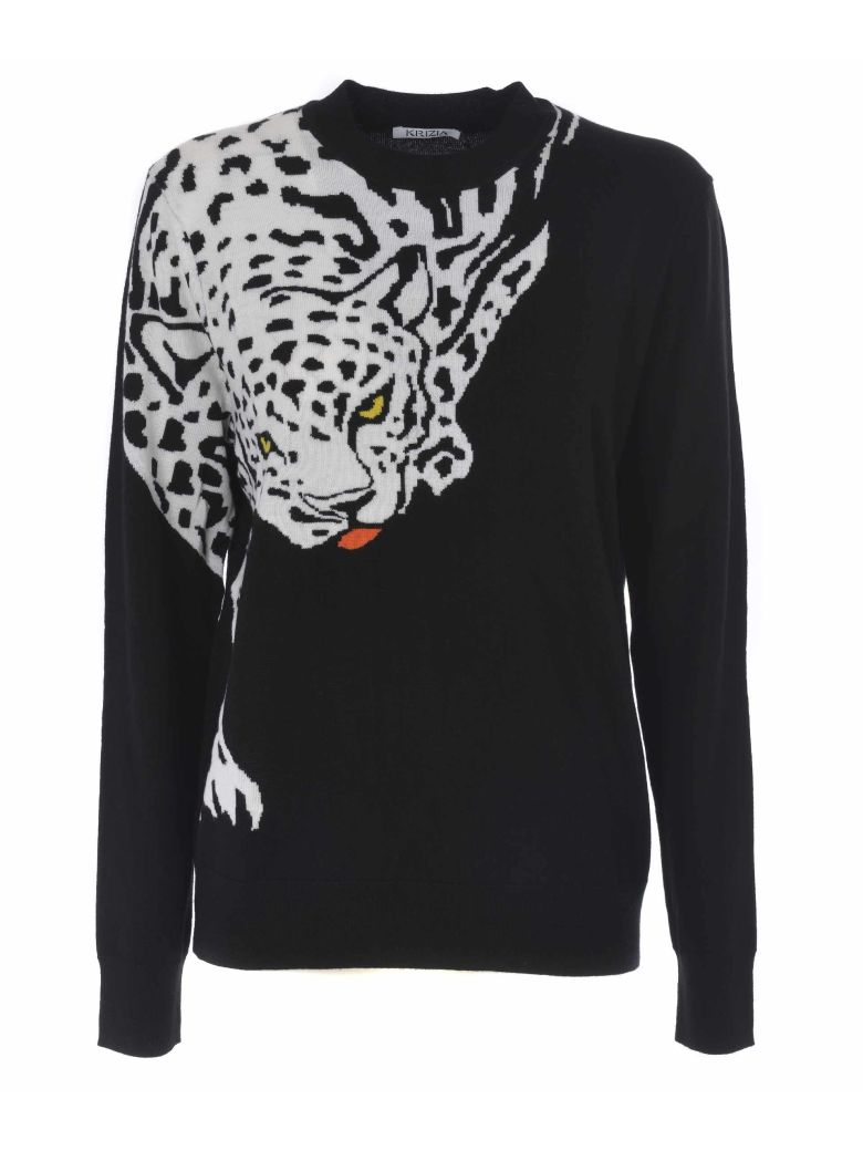 Krizia Tiger Intarsia Sweater - Nero