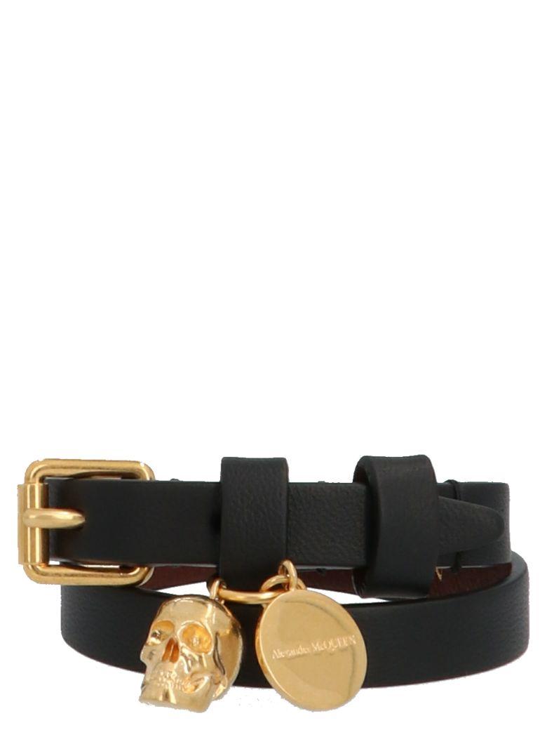 Alexander McQueen 'double Skull Wrap' Bracelet - Black