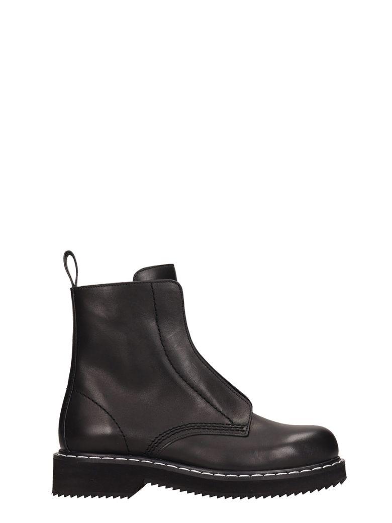 Jil Sander Navy Balck Leather Combact Boots - black