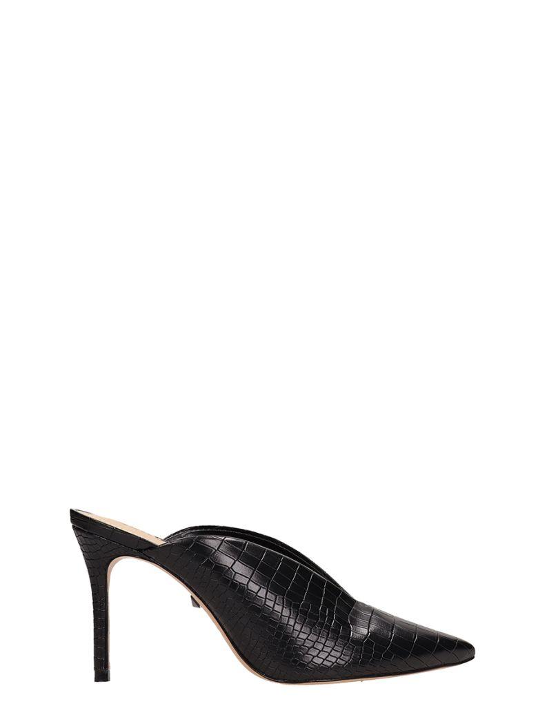 Schutz Cocco Print Black Leather Mules - black
