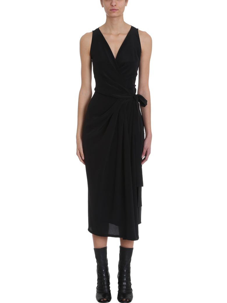 Rick Owens Wrap V Neck Dress - black