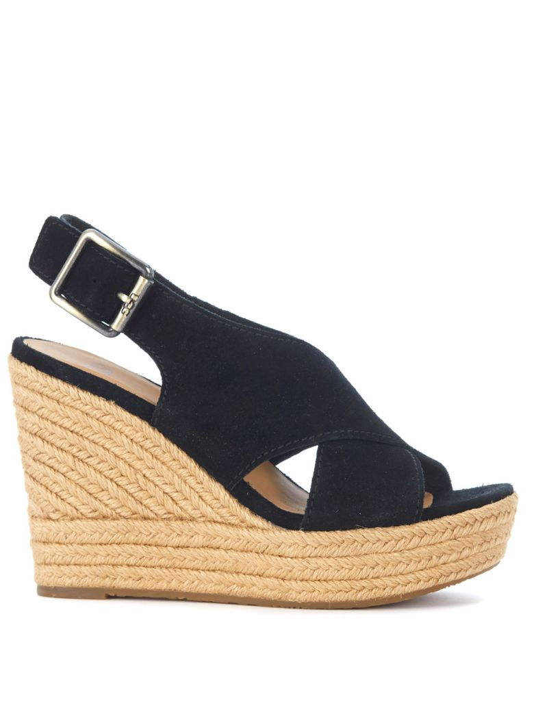 UGG Harlow Black Suede Wedge Sandal - NERO