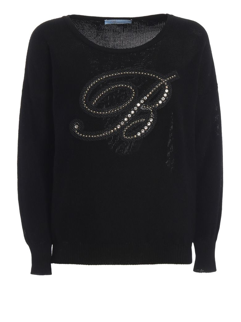 Blumarine Knit Logo Top - Nero