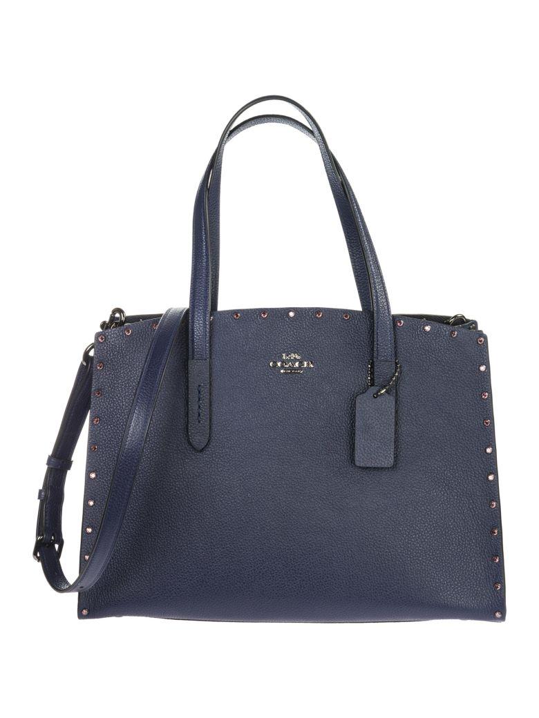 Coach  Leather Handbag Shopping Bag Purse Charlie - Blue