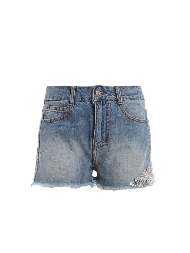 Ermanno Scervino Embellished Denim Shorts - Bright Cobalt