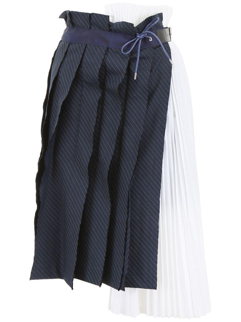 Sacai Pleated Skirt - WHITE NAVY Bianco