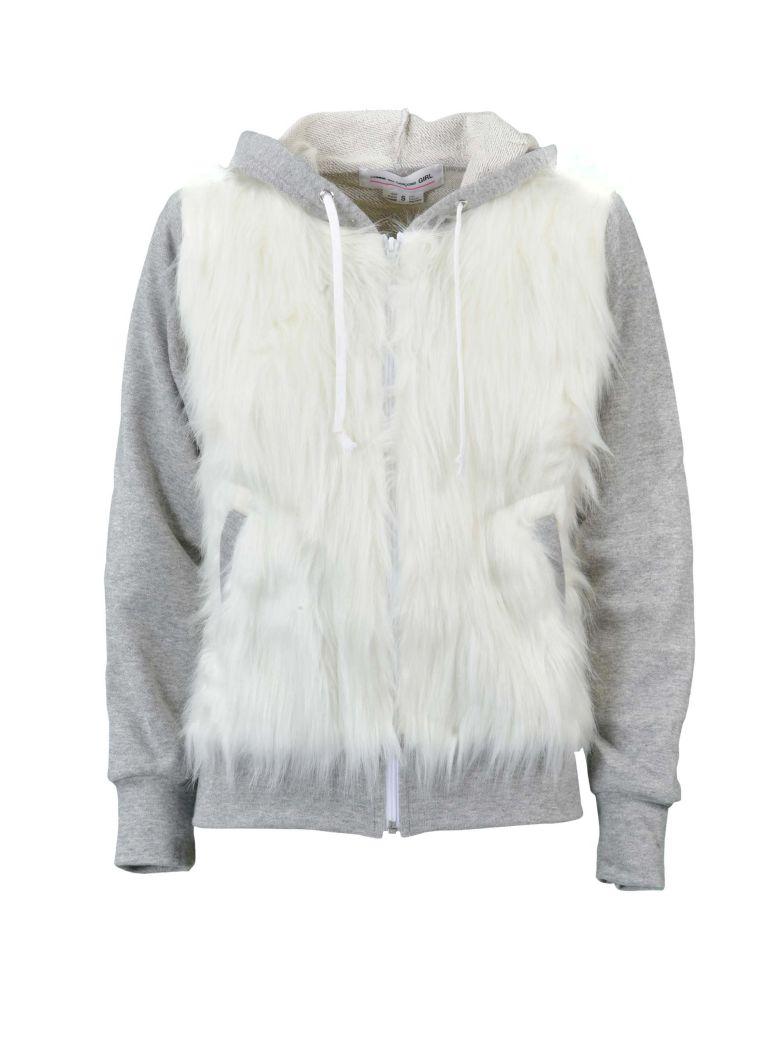 Comme Des Garçons Girl Comme Girl Fur Detail Hoodie - Grey White