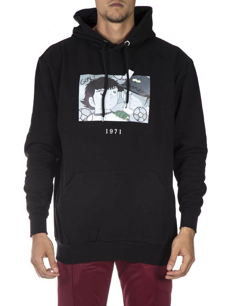 Throw Back Black Cotton Sweatshirt - Black