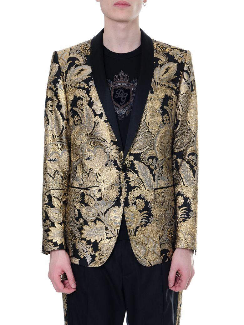 Dolce & Gabbana Mixed Silk Damask Revers Jacket - Gold/black