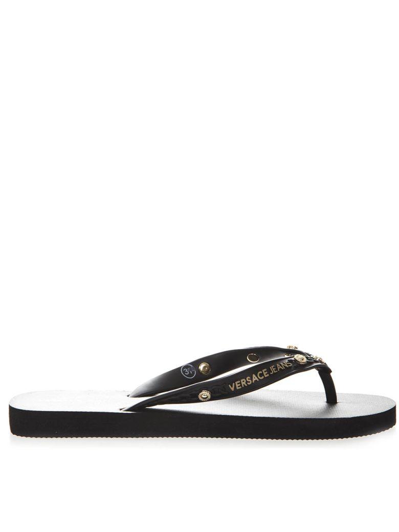 82c636a54 Versace black rubber flip flop sandals with gold studs black jpg 780x1040 Versace  black flip flops
