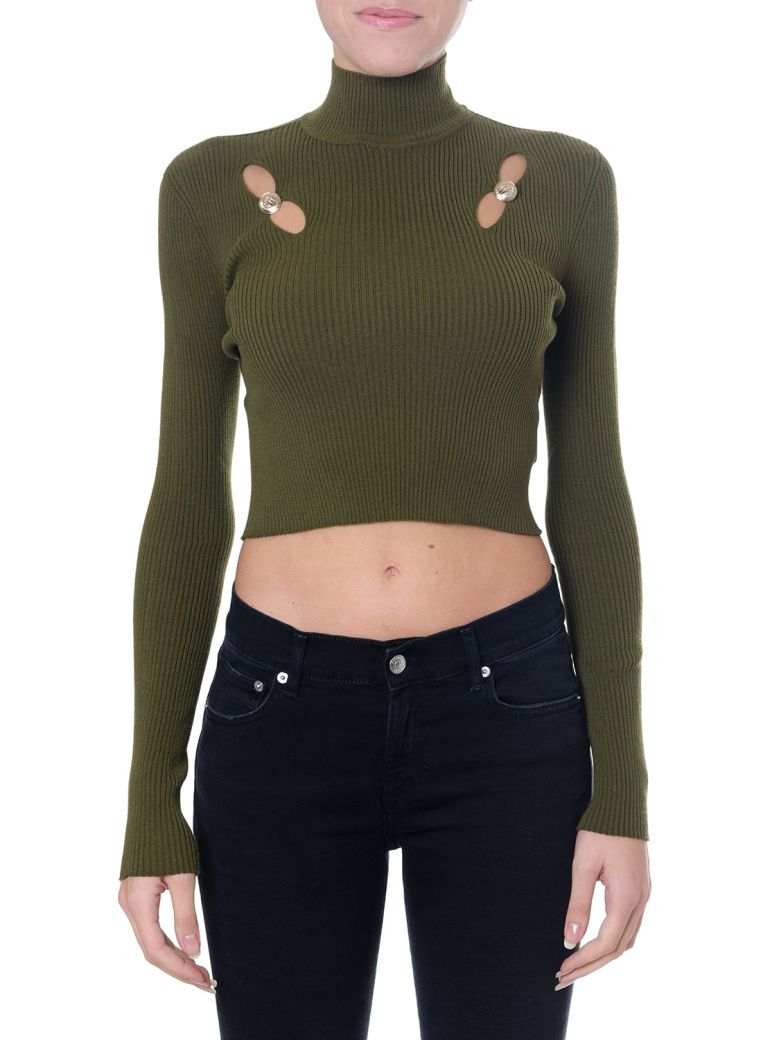 Versus Versace Green Short Top With Cut-out - Green