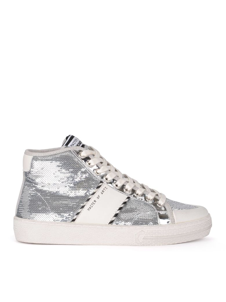 M.O.A. master of arts Moa White Leather And Silver Sequins High Top Sneaker - ARGENTO
