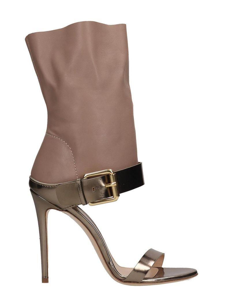 Dei Mille Beige And Metallic Bronze Leather Sandals - bronze