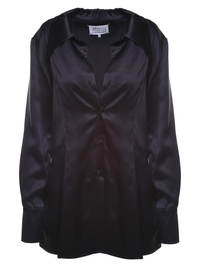 Maison Margiela Chantlly-lace And Silk-satin Shirt - Nero