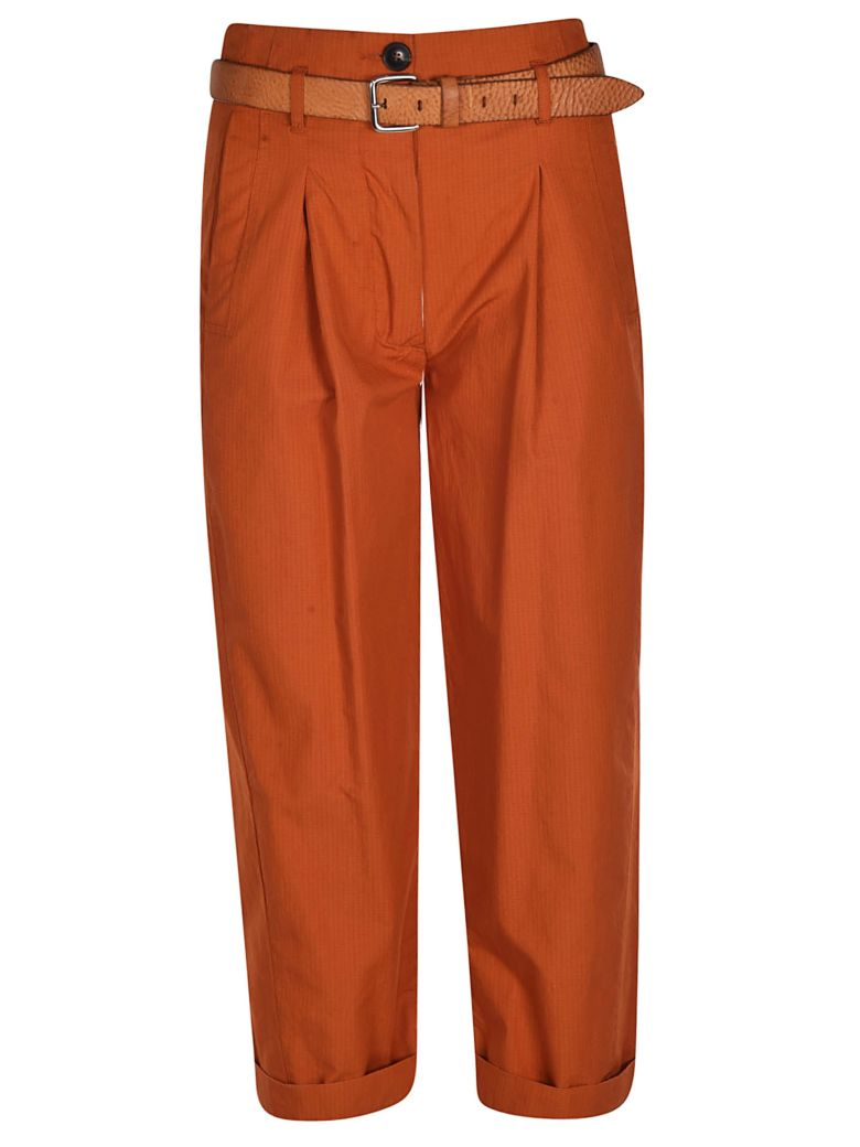 Tela Belted Cropped Trousers - Orange